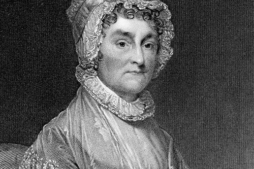 """This vintage engraving depicts the portrait First Lady Abigail Adams (1744 - 1818), wife of the second President of the United States, John Adams, and mother of the 6th US President, John Quincy Adams. Raised in Massachussetts, she was an active supporter of her husband during the American Revolution. Engraved by G. F. Storm after the circa 1800 painting by Gilbert Stuart (1755 - 1828). It was published in an 1877 collection of American portraits and is now in the public domain. Digital restoration by Steven Wynn Photography."""